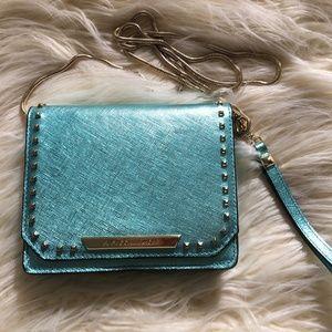 Rebecca Minkoff Metallic Turquoise Wristlet Wallet